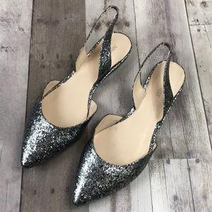 Nine West Shoes - Nine West Silver/Black Pointed Toe Slingback Flats
